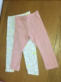 Girls Leggings x Two 12-18 Month's