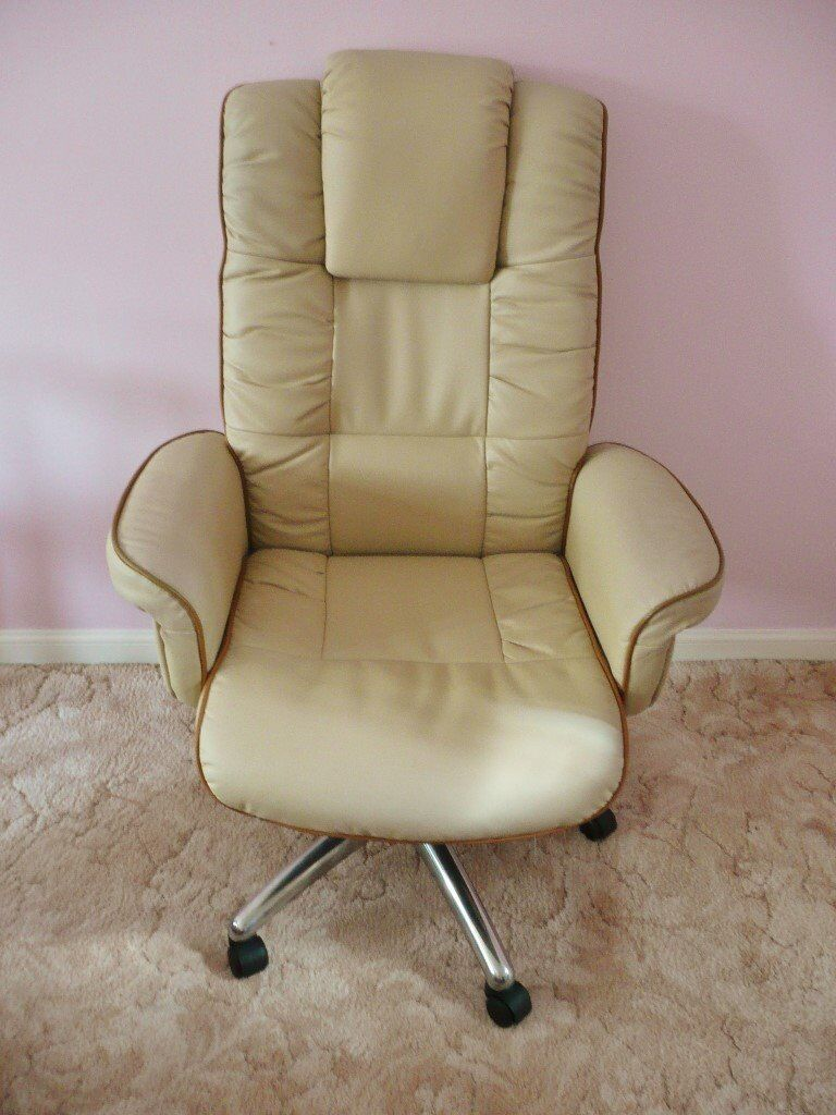 Cream Soft Leather Faced Office / Home Chair