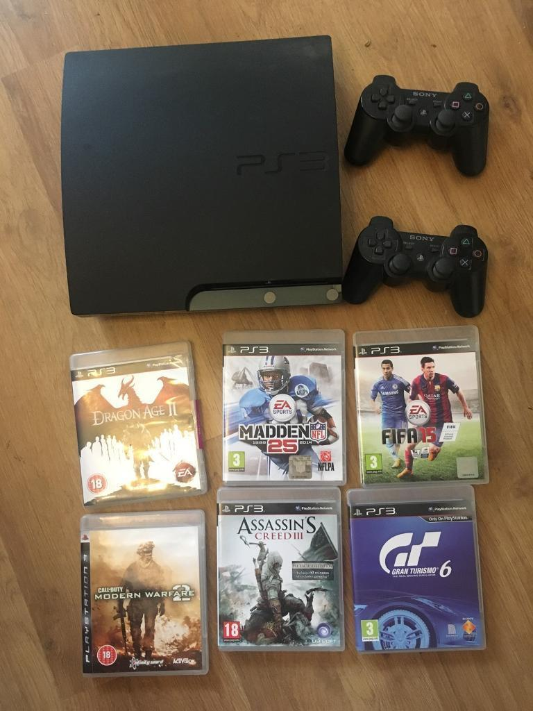 PS3 160GB with games, headset and controllers - good condition