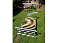 Single bed, metal frame, sturdy with v easy assembly. Jay-Be brand.