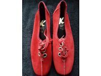 K Skips Ladies Red Suede shoes Size 4.5 narrow NWB