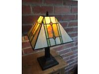 Tiffany Style Table Lamp with amber/green and cream shade