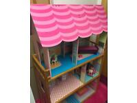 Girls 5ft wooden dolls house with furniture