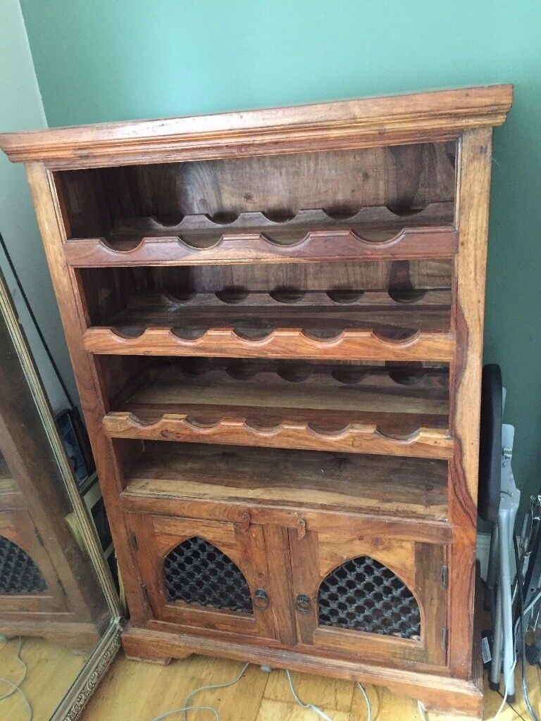 Jali Sheesham Solid Wood Wine Rack Cabinet