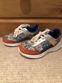 Boden girls floral leather trainers, size 28.