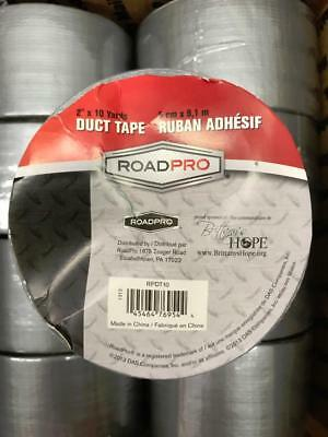 Lot Of 10 New Rolls 2 X 10 Yards Roadpro Duct Tape Strong Hold Silver Grey
