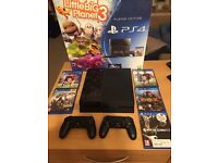PS 4 , 500GB, 2 controllers, 5 games !!