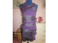 PURPLE TIERED PARTY DRESS SIZE 10 FROM SL FASHIONS EXCELLENT CONDITION