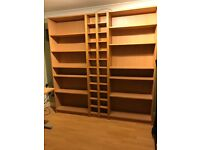 2 matching large bookcases and 2 matching CD/DVD units in beech veneer, excellent condition £50