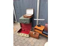 Vintage Gladstone brown leather case bag doctors bag prop