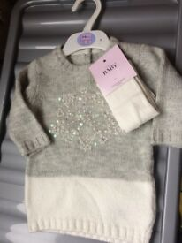 Gorgeous winter Marks and Spencer's dress and tights 3-6months brand new