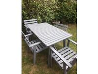 Grey garden table + 4 chairs with arms