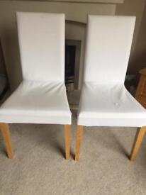 4x IKEA Henriksdal chairs with white covers