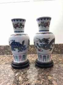 2x Franklin Porcelain Chinese Vases