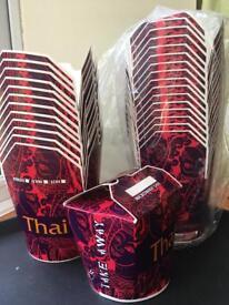 Thai food takeaway box carton 26oz noodles, curries, pasta, rice