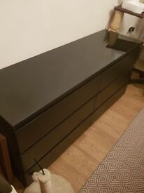 Large black draws with glass top from ikea