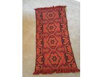 Genuine vintage 70s rug - orange / red / black