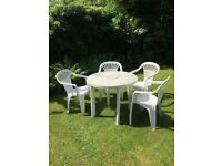 Garden table & chairs - white plastic