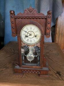 Antique Mantle Parlor Kitchen Gingerbread Clock