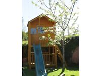 Tower Wooden Playhouse with Slide & Balcony