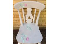 Pair of shabby chic/decoupage farm chairs