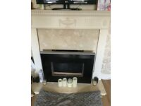 Electric fire mantle piece marble surround and marble hearth