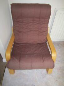 Classic wooden sprung very comfy recliner armchair, timeless design. Layer-glued bent birch frame