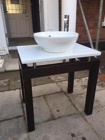 Designer style Basin/sink bowl with walnut finish base.