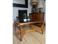 Vintage Retro Mid Century Teak and Glass Coffee Table