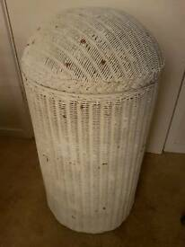 Vintage Lloyd loom circular storage box/laundry hamper