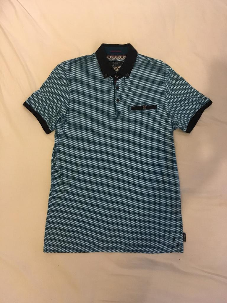 Ted Baker contrast collar polo shirt 3/M blue