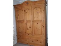Antique Pine Solid wardrope. 2 door 1500mm wide solid back