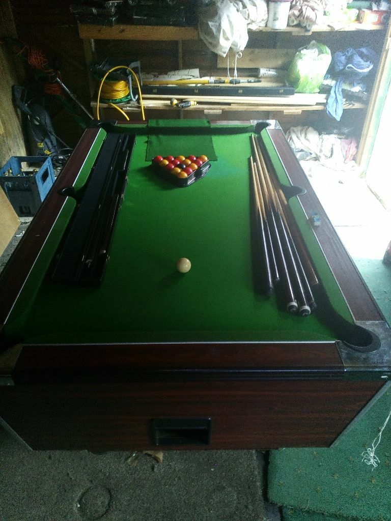 Pub pool table 6ft x 3ft with snooker cue and loads of for Pool table 6 x 3