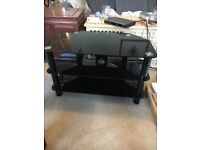 Black Glass Tv and Multimedia Stand with shelves Excellent Condition