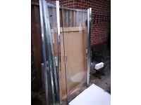 Corner shower base and glass panels