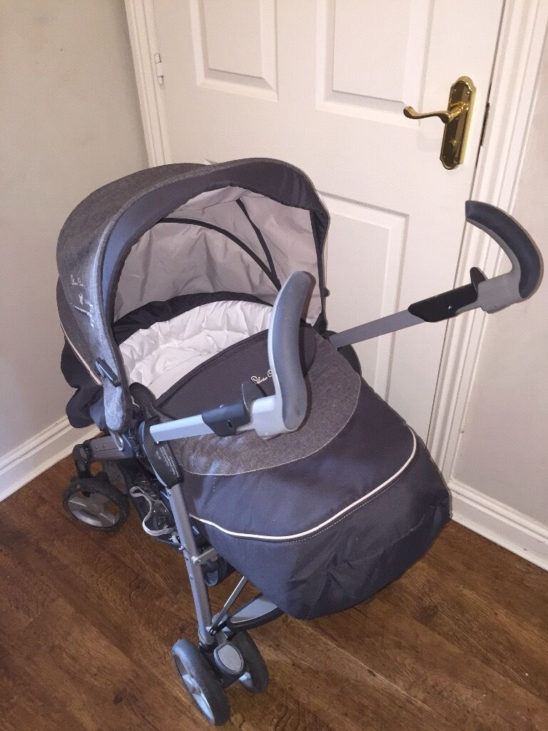 silver cross 3d grey travel system with ventura car seat pram pushchair in rubery west. Black Bedroom Furniture Sets. Home Design Ideas