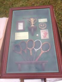 """Brand new boxed """"The History of the Tennis Racket"""" shadow box / deep memorabilia picture"""