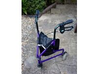 Three Wheel Tri Walker Fold-able with bag and cage. Purple