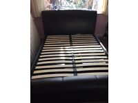 King size faux leather bed frame with under bed storage