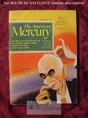 AMERICAN MERCURY February 1947 PHILIP MURRAY RALPH LINTON LIAM (Phillip Liam)