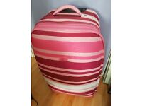 Large Pink Striped Suitcase