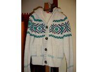 'Animal' cream wool hooded chunky fleece lined cardigan + hood M