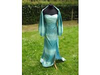 UK 12 YVE London Designer Blue Green Silver Prom Party Evening Occasion Dress