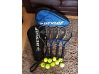 Dunlop Biomimetic Tennis Rackets 6 racket Dunlop Bag plus Individual carry bags and 9 new balls