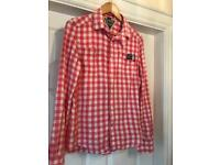 Superdry pink checked ladies shirt - small