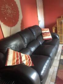 Brown double recliner settee, 3 seats (very good condition)
