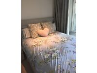 Laura Ashley Double bed with silver floral headboard and mattress