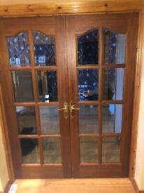 Double mahogany glass doors
