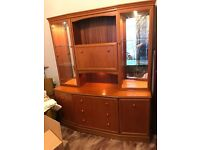 Large Wooden/glass/mirror cabinet