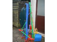 Childs outdoor swing and see saw set
